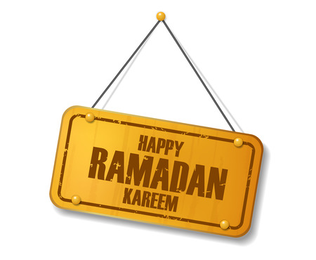 compendium: Vintage old gold sign with Happy Ramadan Kareem text. Vector illustration