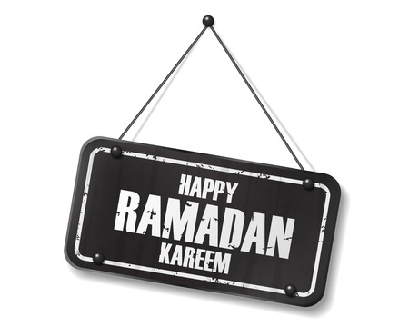 Vintage old black sign with Happy Ramadan Kareem text. vector illustration
