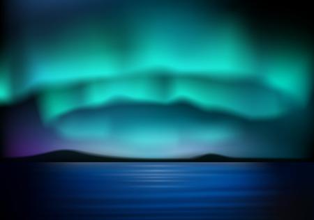 青い空にオーロラが見られます。ベクトル図  イラスト・ベクター素材