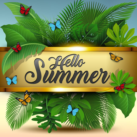 Hello summer sign with Tropical Leaves and butterflies. Suitable for Summer concept, vacation, and summer holiday. Vector Illustration Illustration