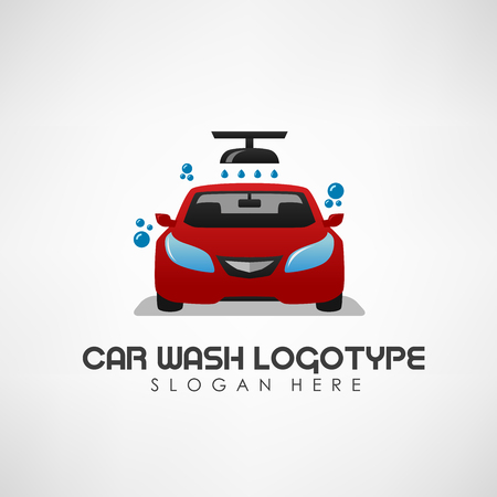 Car wash concept with auto shower and water drops. Vector Illustration