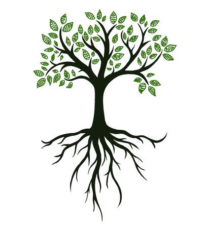 Símbolo de árbol con raíces, dibujo a mano real Ilustración de vector