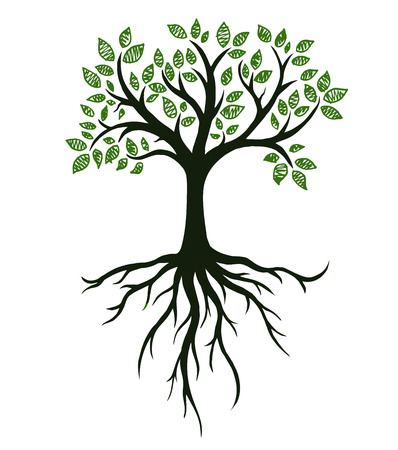 Tree symbol with roots, real hand drawing Illustration