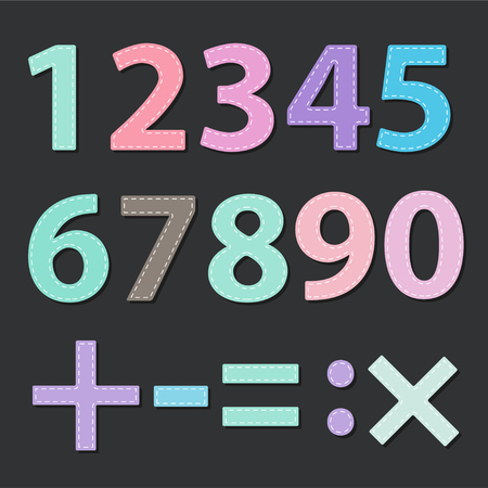 Number multicolored sets with stitched effects. Vector Illustration