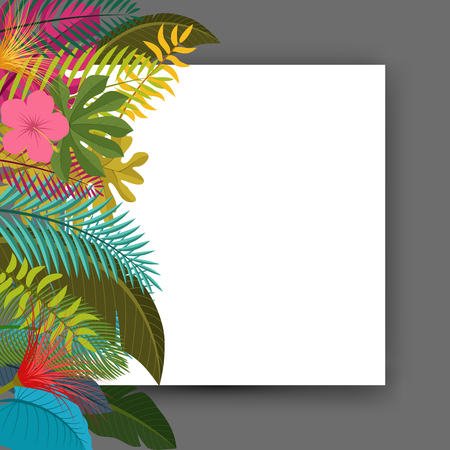 Tropical leaves floral vintage with space for text, easy to edit. suitable for invitation, nature concept, and other. Vector Illustration