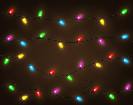 Set of color garlands, festive decorations. Glowing christmas lights isolated. Vector Illustration 向量圖像