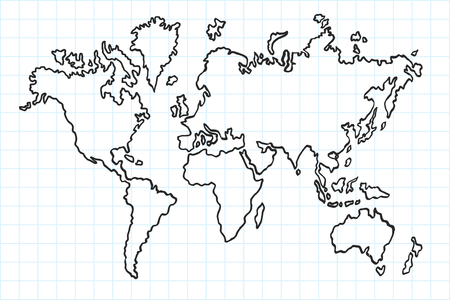 Hand drawn flat world map. Isolated and real pen sketch. Vector Illustration 向量圖像