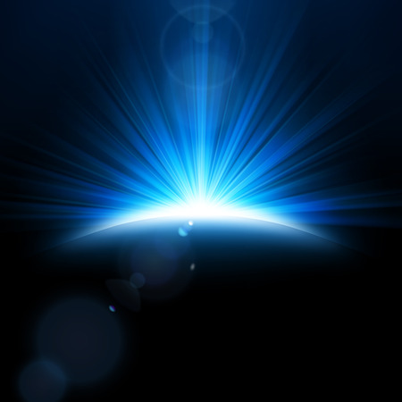 Blue Rays rising on dark background. Suitable for product advertising, product design, and other