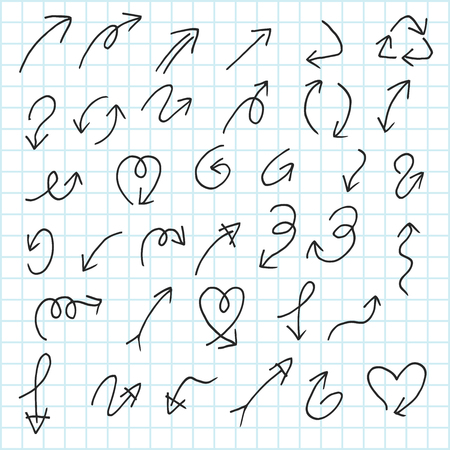 Artistic collection of hand drawn arrow set. Isolated and real pen sketch. Vector Illustration