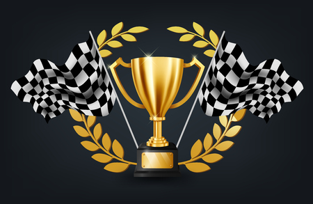 Realistic Golden Trophy with Gold Laurel Wreath and Checkered flag racing championship background, Vector Illustration