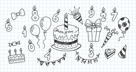 Artistic collection of hand drawn birthday set. Isolated and real pen sketch. Vector Illustration
