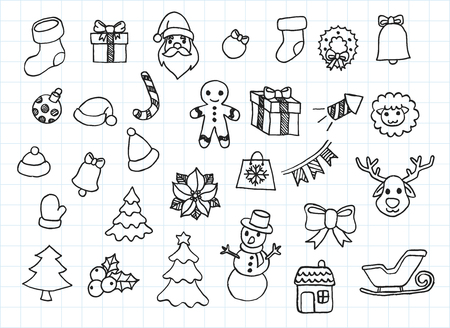 Artistic collection of hand drawn christmas set. Isolated and real pen sketch. Vector Illustration 向量圖像