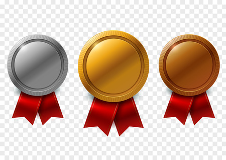 Champion gold, silver and bronze award medals with red ribbons set with space for text, on transparent background. Vector Illustration 向量圖像