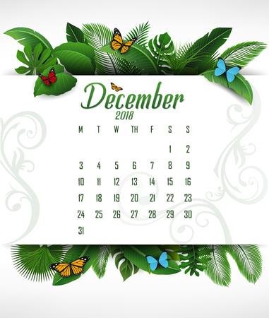 Calendar December 2018 with tropical concept. Vector Illustration