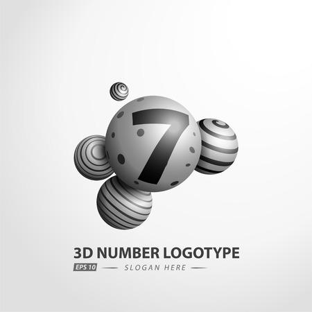 Number Decorative ball logotype. 3D Vector Illustration