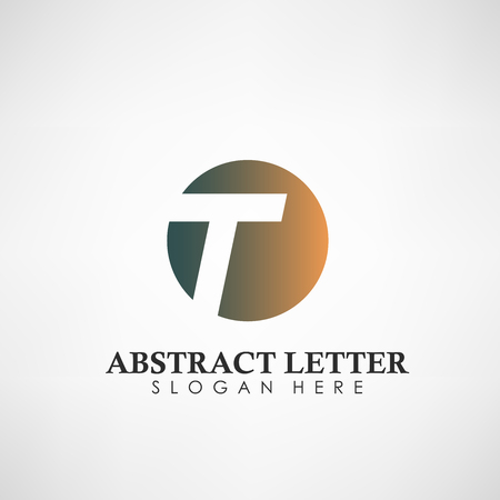 Logotipo abstracto de la letra T. Adecuado para marcas comerciales, logotipo de empresa y otros. Ilustración vectorial