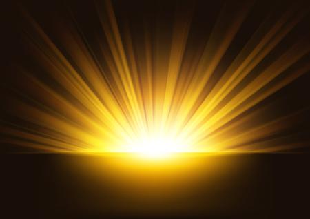 Goldene Strahlen, die auf dunklem Hintergrund steigen. Geeignet für Produktwerbung, Produktdesign und andere. Vektorillustration