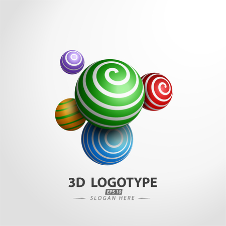 Multicolored Decorative ball logotype. 3D Vector Illustration