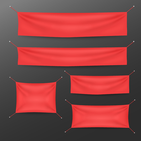 Red textile banners with folds template set. Suitable for advertising, party banner, and other. Vector illustration