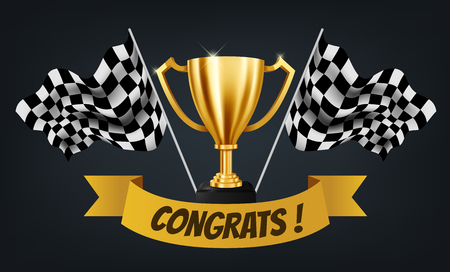 Realistic Golden Trophy with Checkered flag racing championship background and Congrats text on yellow ribbon, Vector Illustration