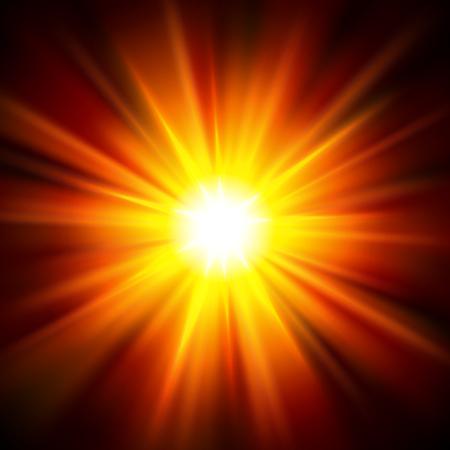 Sun light shining from darkness. Vector Illustration