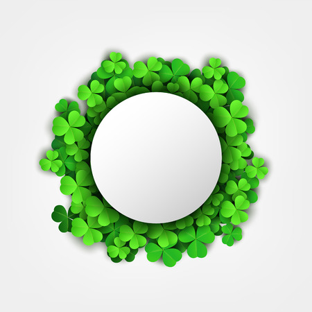 Round text space on Clover leaves background. Suitable for Saint Patricks Day, nature concept, and other