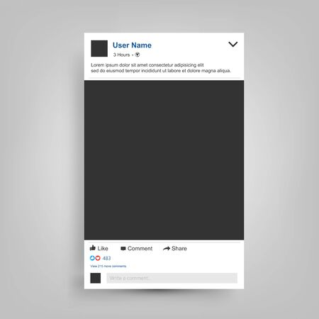 Social network Posting frame isolated with place for text, easy to edit. Vector Illustration