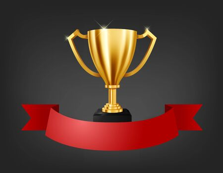 Realistic Golden Trophy with text space on red ribbon, Vector Illustration 向量圖像