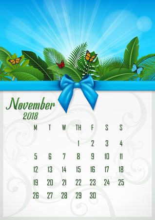 Calendar November 2018 with tropical concept. Vector Illustration 向量圖像