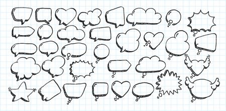 Artistic collection of hand drawn doodle style comic balloon, cloud, heart shaped design elements. Isolated and real pen sketch. Vector Illustration
