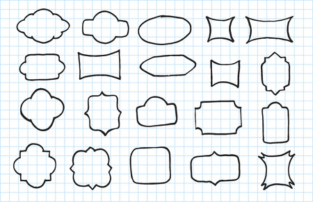 Artistic collection of hand drawn banners set. Isolated and real pen sketch. Vector Illustration 向量圖像