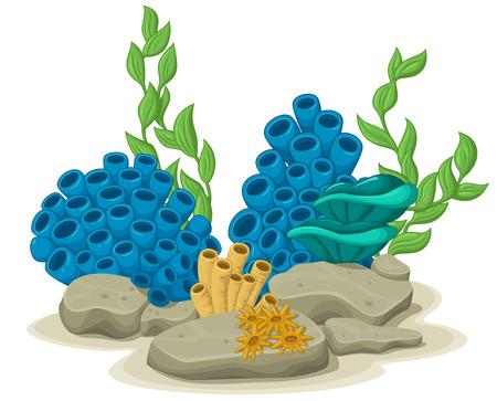 Marine algae, yellow tube sponges and sea anemones growing on a rock sea life. Vector illustration Иллюстрация
