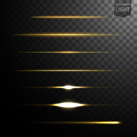 Abstract gold light lines isolated on transparent background, easily transferred to your project. Vector Illustration