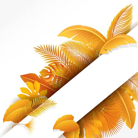 Sign with text space of Turn Yellow Tropical Leaves. Suitable for nature concept, vacation, and autumn