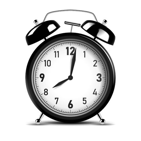 Realistic black alarm clock. Vector Illustration