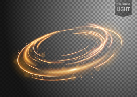 Abstract gold wind line of light with sparkles on a transparent background, isolated and easy to edit. Vector Illustration 向量圖像