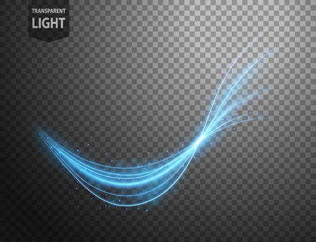 Abstract blue wavy line of light with a transparent background, isolated and easy to edit. Vector Illustration Illustration