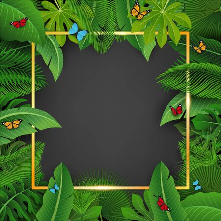 Golden square with text space surrounded by Tropical leaves. Suitable for nature concept, vacation, and summer holiday. Vector Illustration