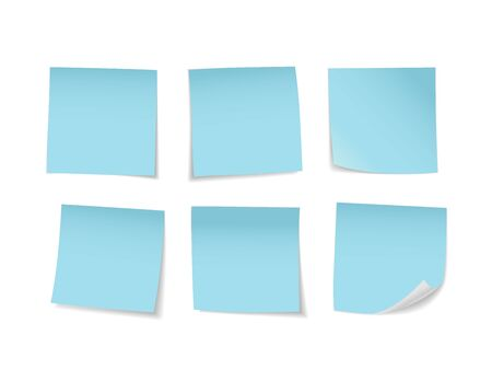 Blue sticky notes set. Suitable for notes, advertising, and other. Vector Illustration 版權商用圖片 - 145942188