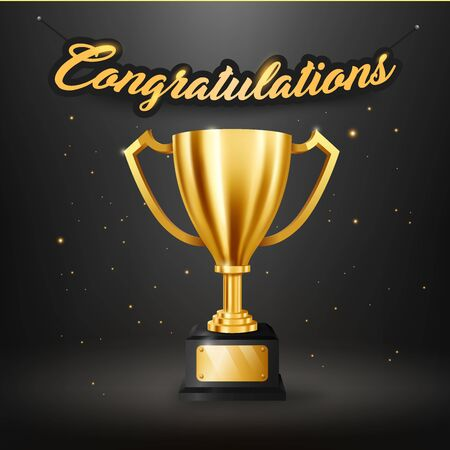 Realistic Golden Trophy with text space and Congratulations text hanging on the wall 版權商用圖片 - 145942189