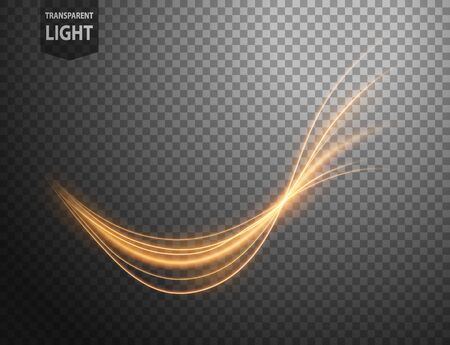 Abstract gold wavy line of light with a transparent background, isolated and easy to edit. Vector Illustration