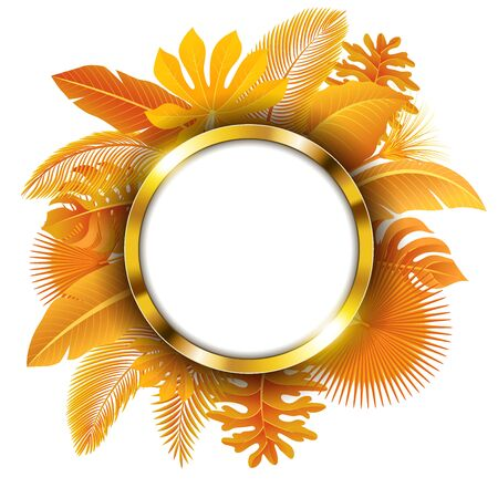 Round golden banner with text space of Turn yellow Tropical Leaves. Suitable for nature concept, vacation, and autumn