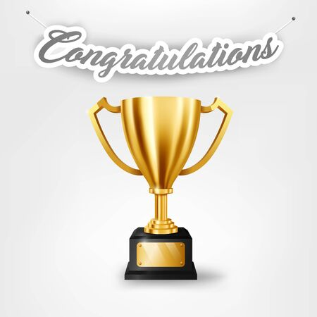 Realistic Golden Trophy with text space and Congratulations text hanging on the wall 向量圖像