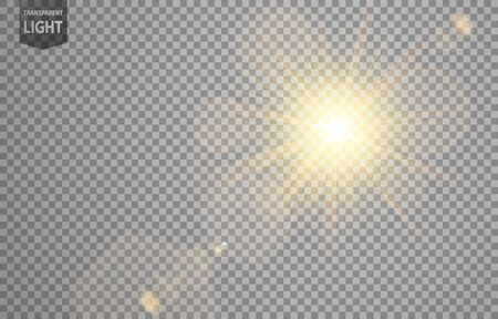 Abstract sun shines with lens flare and blur in motion glow glare. isolated on transparent background. Vector Illustration