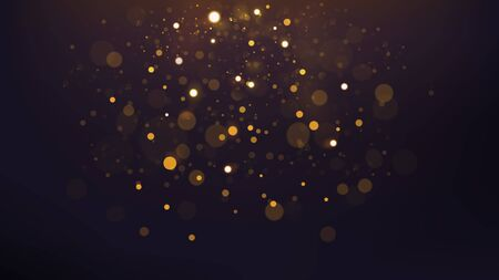 Abstract Gold Bokeh Scattered, Widescreen Version. Vector Illustration