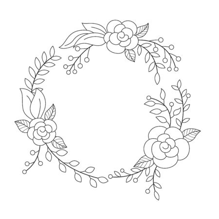 Floral wreath in round frame outline. Suitable for advertising, invitation and other. Vector Illustration