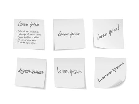 White sticky notes set. Suitable for notes, advertising, and other. Vector Illustration 向量圖像