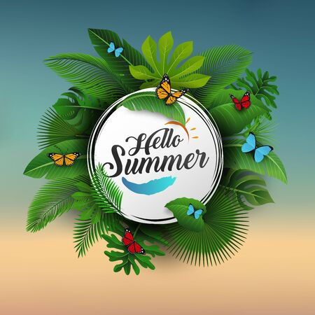 Hello summer sign with Tropical Leaves and Butterfly. Suitable for Summer concept, vacation, and summer holiday 向量圖像