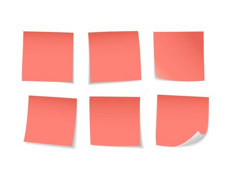 Red sticky notes set. Suitable for notes, advertising, and other. Vector Illustration 版權商用圖片 - 145942347