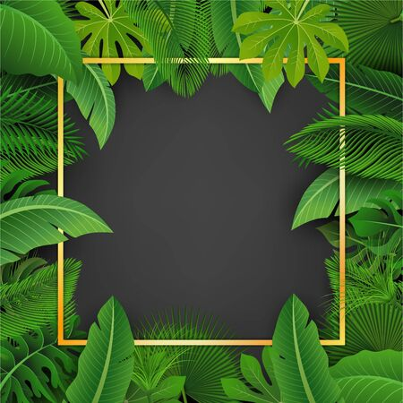 Golden square with text space surrounded by Tropical leaves. Suitable for nature concept, vacation, and summer holiday 版權商用圖片 - 145942508